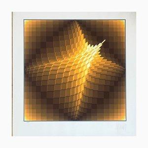 Litografía con estructura geométrica de Yaacov Agam, 1974