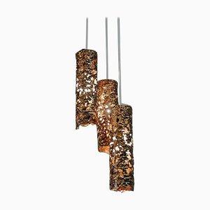 Lampada da soffitto brutalista a forma di cilindro in rame, Svezia, anni '60