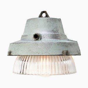 Lampe à Suspension Industrielle Vintage en Métal Gris et en Verre Holophane Rayé