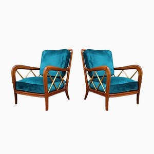 Italian Cherry and Green Velvet Lounge Chairs by Paolo Buffa, 1950s, Set of 2
