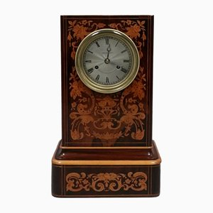 French Napoleon III Rosewood Inlaid Mantel Clock, 1860s