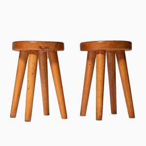 Mid-Century Modern French Stools in Pine, Set of 2