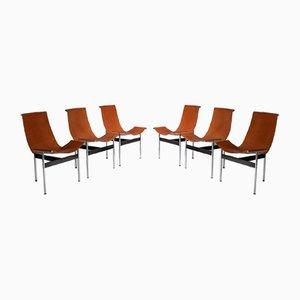 Sedie a T di William Katavolos, Ross Littell e Douglas Kelley per ICF De Padova, 1952, set di 6