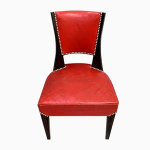 Ebony Macassar and Red Leather Dining Chairs, 1930s, Set of 2