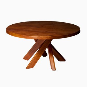 T21D Round Dining Table in Elm by Pierre Chapo, 1960s