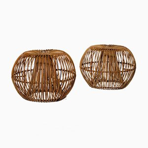 Rattan Stools by Janine Abraham & Dirk Jan Rol for Rougier, France, 1950s, Set of 4