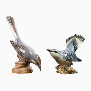 Danish Porcelain Birds by Dahl Jensen, 1930s, Set of 2
