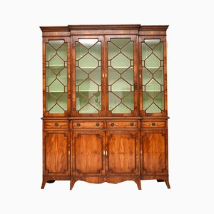 Regency Style Yew Wood Breakfront Bookcase, 1950s