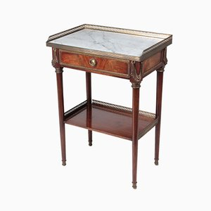 19th Century French Coffee Table in Mahogany, White Carrara Marble & Bronze