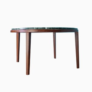 Mid-Century Teak & Faux Marble Coffee Table, 1960s