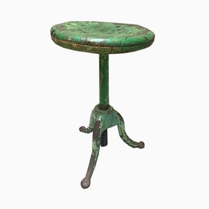 Vintage Green Oak and Cast Iron Stool, 1930s