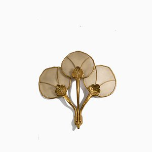 Large Vintage Italian Wall Sconce in Brass Flower-Shaped and Fabric