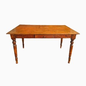 Antique Oak Dining Table with Drawer