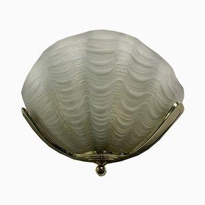 Glas und Messing Muschelförmige Wandlampe, 1940er