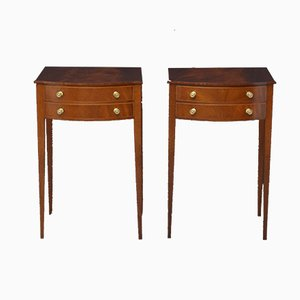 Antique Edwardian Mahogany Bedside Cabinets, Set of 2