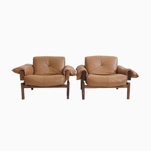 Brown Leather & Rosewood Armchairs by Percival Lafer for MP Lafer, 1970s, Set of 2
