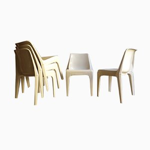 White Plastic Stackable Dining Chairs, 1970s, Set of 6