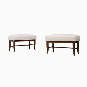Mid-Century White Bouclè Fabric and Walnut Stools in the Style of Gio Ponti, 1960s, Set of 2