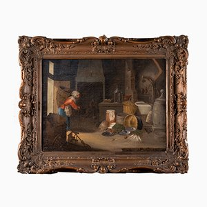 Flemish Oil on Canvas Painting with Frame by Cornelis Dusart