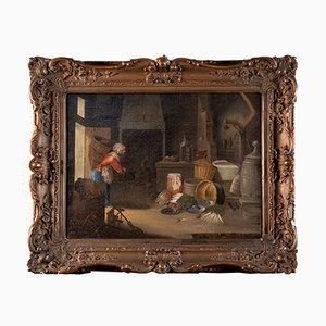 Pintura al óleo flamenca sobre lienzo con marco de Cornelis Dusart