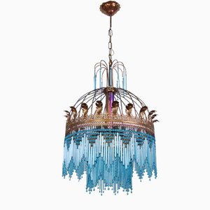 Glass Cannulae Pendant Chandelier, 1950s
