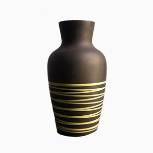 Brown Yellow Striped Floor Vase from Scheurich, Germany, 1970s