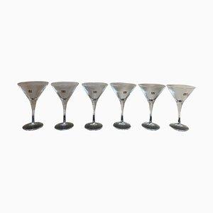 Italienische Vintage Martini Gläser mit goldener Schrift, 1970er, 6er Set