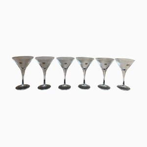 Vintage Italian Martini Glasses with Gold Writing, 1970s, Set of 6