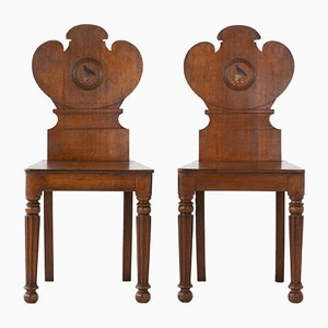 19th Century Oak Hall Chairs, Set of 2