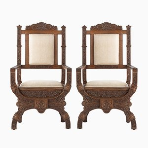 19th Century Carved Anglo Indian Armchairs, Set of 2