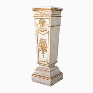 18th Century Italian Column of Trapezoidal Shape in Lacquered and Gilded Wood with Marble Top