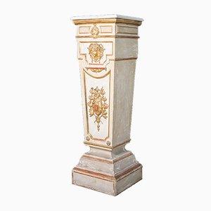 Trapezförmige italienische Säule aus lackiertem vergoldetem Holz mit Marmorplatte, 18. Jh