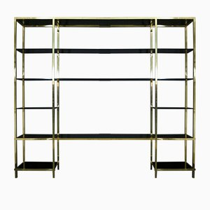 Italian Brass and Black Glass Shelving by Romeo Rega, 1976