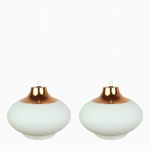German Copper Ceiling Lamps with Opal Glass Spheres, 1960s, Set of 2