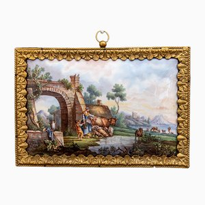 Antique French Hand-Painted Sevres Porcelain Plaque with Bronze Frame