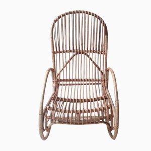 Vintage Rattan and Bamboo Rocking Chair, 1960s