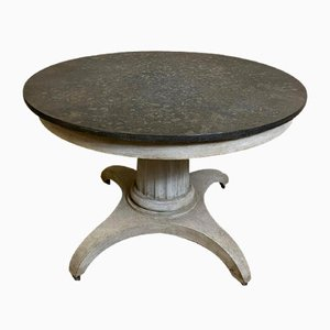 Early-19th Century Swedish Round Center or Small Dining Table with Faux Marble Top