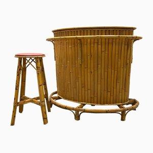 Vintage Bambus Bar & Hocker, 1970er, 2er Set