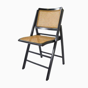 Mid-Century Folding Chair with Woven Cane, 1960s