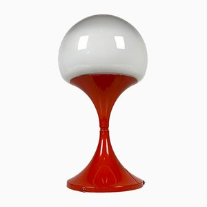 Italian White Glass Table Lamp, 1980s