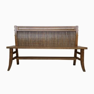 Mid-Century Modern Bench in Walnut with Bars Back and Wood Seat, 1940s