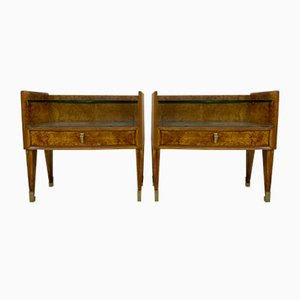 Mid-Century Italian Bedside Tables in Burl Wood, 1950s, Set of 2
