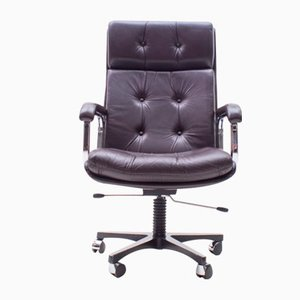 Italian Brown High Back Leather Office Chair, 1970s