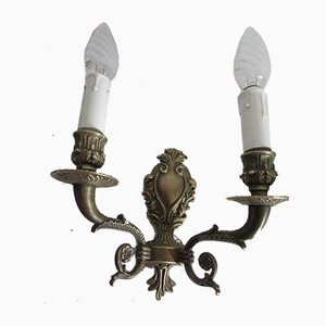 Antique Bronze Electrified Wall Sconces, 1900s, Set of 2
