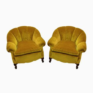 Mid-Century Modern Italian Velvet Lounge Chairs, 1950s, Set of 2