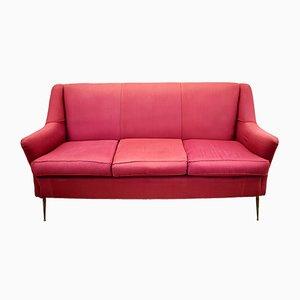 Italian Red 3-Seat Sofa, 1960s