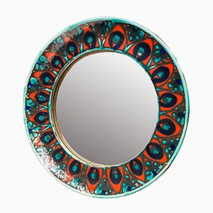 Round Ceramic Wall Mirror by Allgäuer Keramik, 1950s