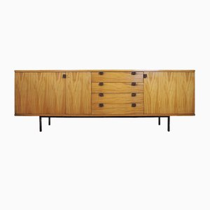 Blond Cherry and Mahogany 4-Drawer Sideboard with Black Lacquered Metal Legs & Handles by Alain Richard for Muebles TV, 1954
