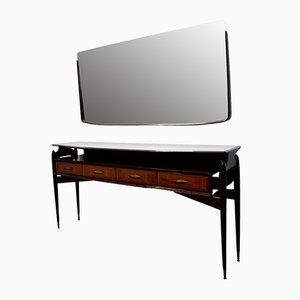 Italian Console Table & Mirror by Vittorio Dassi, 1950s, Set of 2