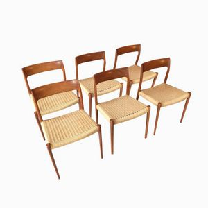 Chaises de Salon Vintage par Niels O. Møller pour J.L. Mollers, Set de 6